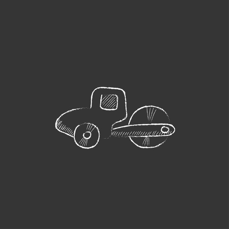 machine operator: Road roller. Hand drawn in chalk vector isolated icon for web, mobile and infographics.