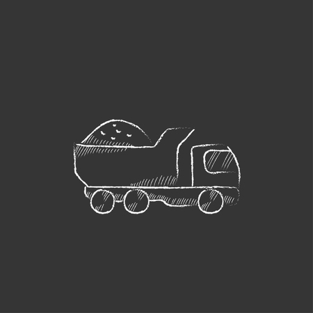 hand truck: Dump truck. Hand drawn in chalk vector isolated icon for web, mobile and infographics. Illustration