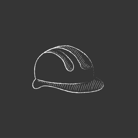 safety equipment: Hard hat. Hand drawn in chalk vector isolated icon for web, mobile and infographics.