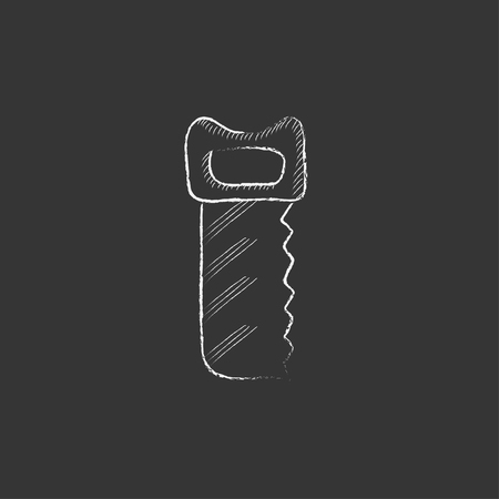 cut off saw: Saw. Hand drawn in chalk vector isolated icon for web, mobile and infographics. Illustration