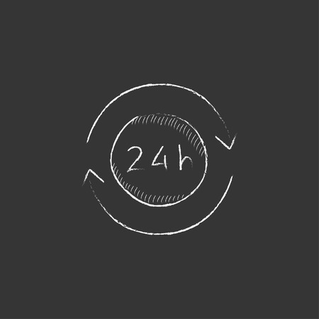 hrs: Service 24 hrs. Hand drawn in chalk vector isolated icon for web, mobile and infographics.