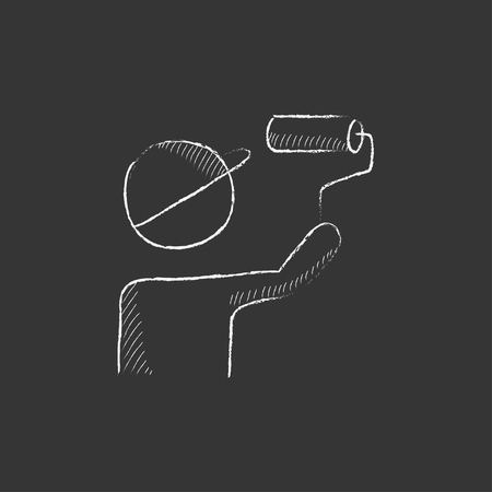 man painting: Man painting with a roller. Hand drawn in chalk vector isolated icon for web, mobile and infographics.