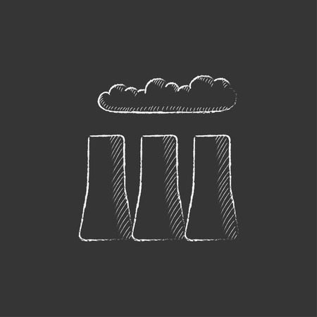 Factory pipes. Hand drawn in chalk vector isolated icon for web, mobile and infographics.