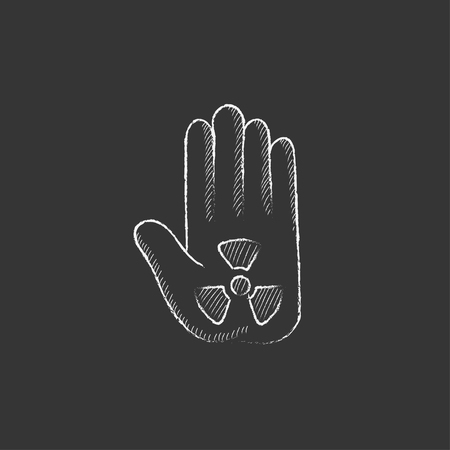 poison symbol: Ionizing radiation sign on a palm. Hand drawn in chalk vector isolated icon for web, mobile and infographics. Illustration