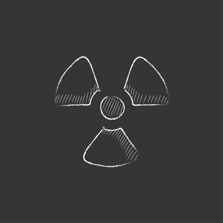 ionizing radiation risk: Ionizing radiation sign. Hand drawn in chalk vector isolated icon for web, mobile and infographics.