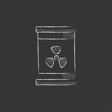 ionizing radiation: Barrel with ionizing radiation sign. Hand drawn in chalk vector isolated icon for web, mobile and infographics.