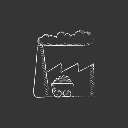 toxic cloud: Factory. Hand drawn in chalk vector isolated icon for web, mobile and infographics.