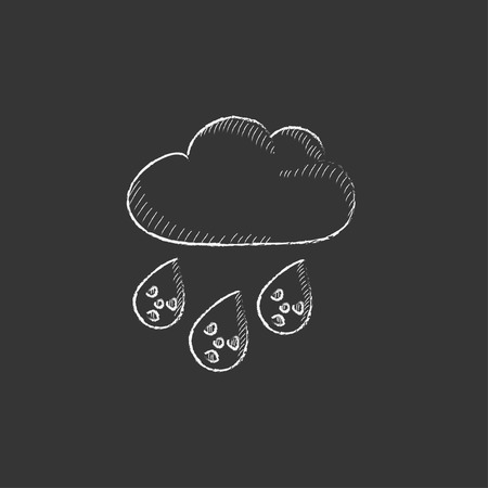 toxic cloud: Radioactive cloud and rain. Hand drawn in chalk vector isolated icon for web, mobile and infographics.