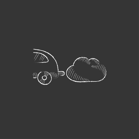 Car spewing polluting exhaust. Hand drawn in chalk vector isolated icon for web, mobile and infographics.