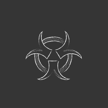 Bio hazard sign. Hand drawn in chalk vector isolated icon for web, mobile and infographics.  イラスト・ベクター素材
