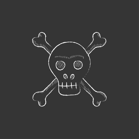 cross bones: Skull and cross bones. Hand drawn in chalk vector isolated icon for web, mobile and infographics. Illustration