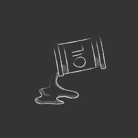 spilling: Oil spilling from barrel. Hand drawn in chalk vector isolated icon for web, mobile and infographics.