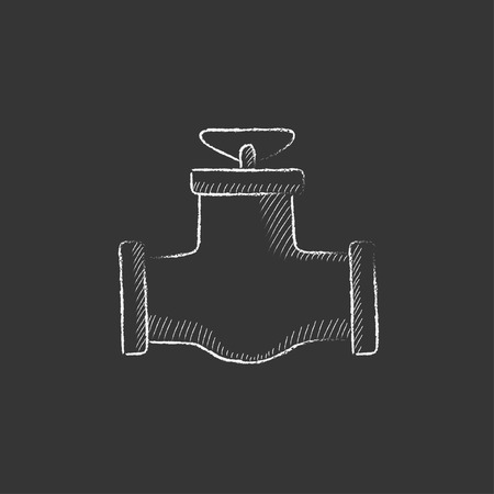 conduit: Gas pipe valve. Hand drawn in chalk vector isolated icon for web, mobile and infographics.