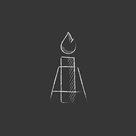 flue: Gas flare. Hand drawn in chalk vector isolated icon for web, mobile and infographics. Illustration
