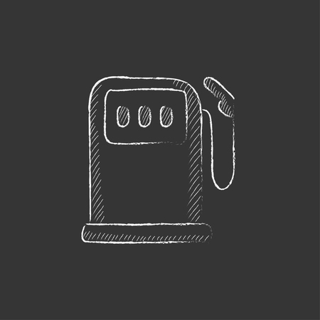 fillup: Gas station. Hand drawn in chalk vector isolated icon for web, mobile and infographics.