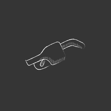 unleaded: Gasoline pump nozzle. Hand drawn in chalk vector isolated icon for web, mobile and infographics.