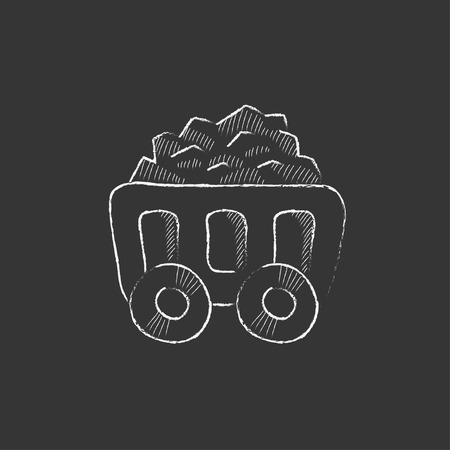 Mining coal cart. Hand drawn in chalk vector isolated icon for web, mobile and infographics.