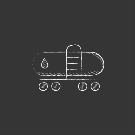 Oil tank. Hand drawn in chalk vector isolated icon for web, mobile and infographics.