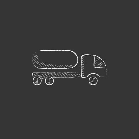 fuel truck: Fuel truck. Hand drawn in chalk vector isolated icon for web, mobile and infographics.