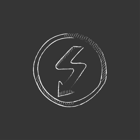 lightning arrow: Lightning arrow going down inside circle. Hand drawn in chalk vector isolated icon for web, mobile and infographics.