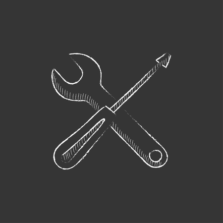 Screwdriver and wrench tools. Hand drawn in chalk vector isolated icon for web, mobile and infographics.