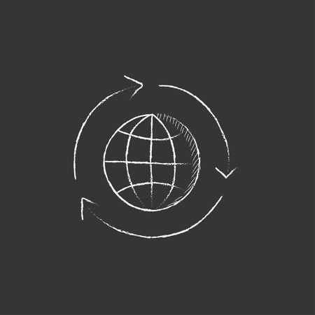 eco icon: Globe with arrows. Hand drawn in chalk vector isolated icon for web, mobile and infographics.
