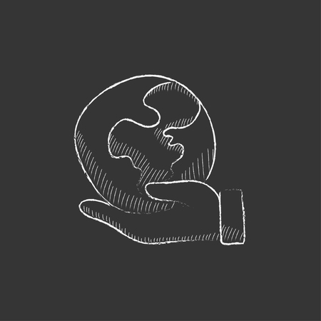 earth in hand: Hand holding the Earth. Hand drawn in chalk vector isolated icon for web, mobile and infographics. Illustration