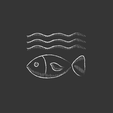 ecological damage: Fish under water. Hand drawn in chalk vector isolated icon for web, mobile and infographics.