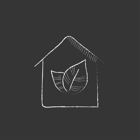 Eco-friendly house. Hand drawn in chalk vector isolated icon for web, mobile and infographics.
