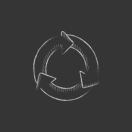 Arrows circle. Hand drawn in chalk vector isolated icon for web, mobile and infographics.