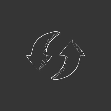 circular arrows: Two circular arrows. Hand drawn in chalk vector isolated icon for web, mobile and infographics.