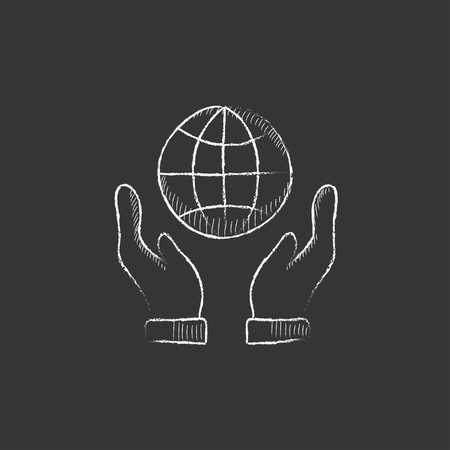 globe hand: Two hands holding globe. Hand drawn in chalk vector isolated icon for web, mobile and infographics.