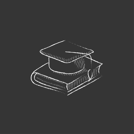 web cap: Graduation cap laying on book. Hand drawn in chalk vector isolated icon for web, mobile and infographics.