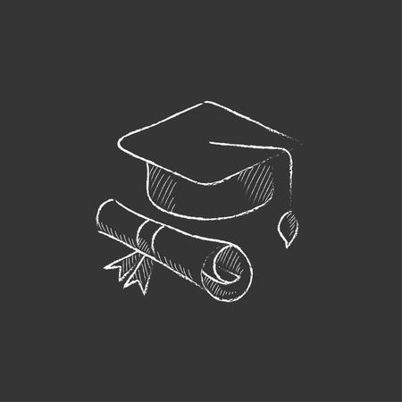 web cap: Graduation cap with paper scroll. Hand drawn in chalk vector isolated icon for web, mobile and infographics.