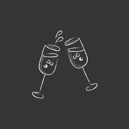 champagne celebration: Two glasses of champaign. Hand drawn in chalk vector isolated icon for web, mobile and infographics.