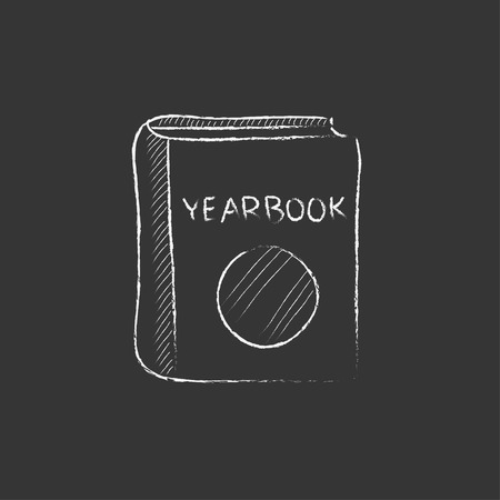 yearbook: Yearbook. Hand drawn in chalk vector isolated icon for web, mobile and infographics.
