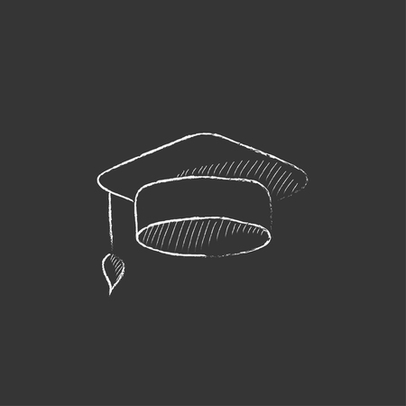 web cap: Graduation cap. Hand drawn in chalk vector isolated icon for web, mobile and infographics.