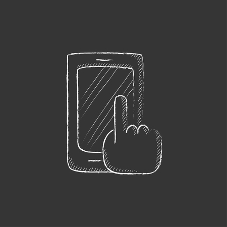 Finger pointing at smart phone. Hand drawn in chalk vector isolated icon for web, mobile and infographics.