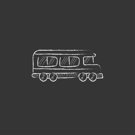 schoolbus: School bus. Hand drawn in chalk vector isolated icon for web, mobile and infographics.