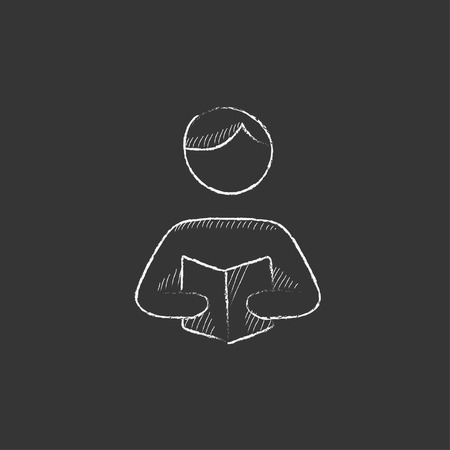 schoolbook: Man reading a book. Hand drawn in chalk vector isolated icon for web, mobile and infographics. Illustration