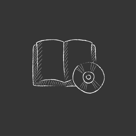 audiobook: Audiobook and cd disc. Hand drawn in chalk vector isolated icon for web, mobile and infographics.