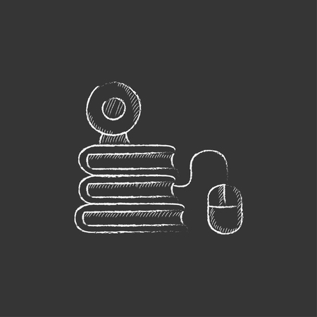 elearn: Computer mouse connected to a stack of books with webcam on it. Hand drawn in chalk vector isolated icon for web, mobile and infographics. Illustration