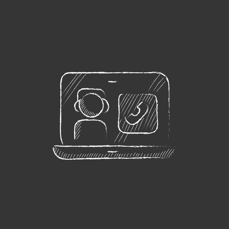 reciever: Laptop with a man in headphones on a screen. Hand drawn in chalk vector isolated icon for web, mobile and infographics. Illustration