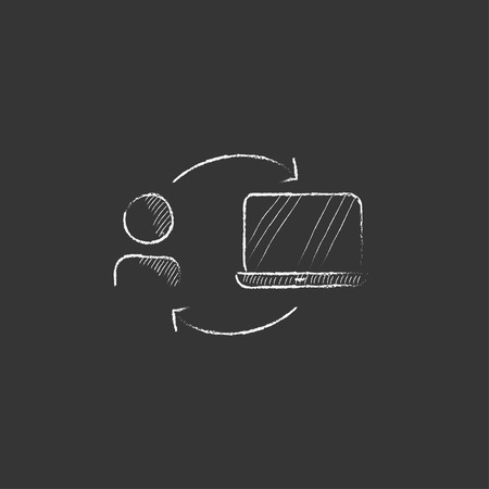 linking: Arrows linking man and laptop. Hand drawn in chalk vector isolated icon for web, mobile and infographics.