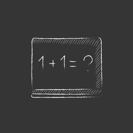 for example: Maths example written on blackboard. Hand drawn in chalk vector isolated icon for web, mobile and infographics.
