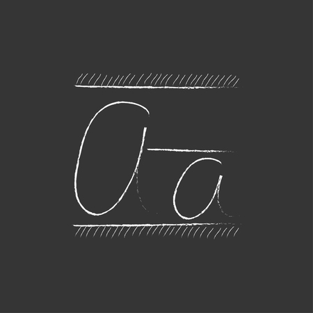lexicon: Cursive letter a. Hand drawn in chalk vector isolated icon for web, mobile and infographics.