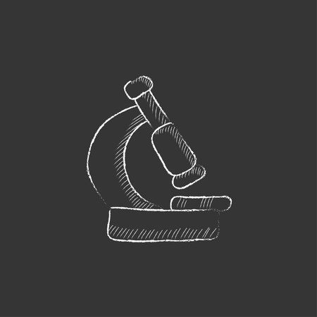 enlargement: Microscope. Hand drawn in chalk vector isolated icon for web, mobile and infographics. Illustration