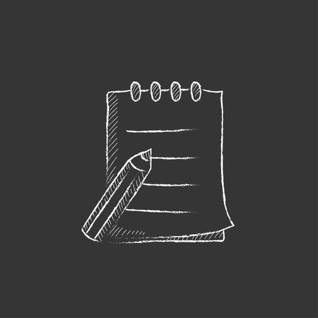 writing pad: Writing pad and pen. Hand drawn in chalk vector isolated icon for web, mobile and infographics.