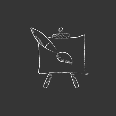 Easel and paint brush. Hand drawn in chalk vector isolated icon for web, mobile and infographics.