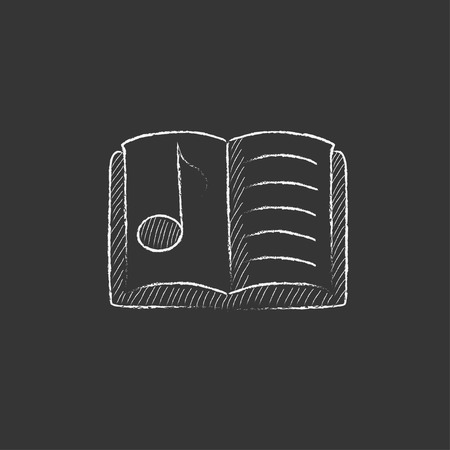 open notebook: Music book. Hand drawn in chalk vector isolated icon for web, mobile and infographics.